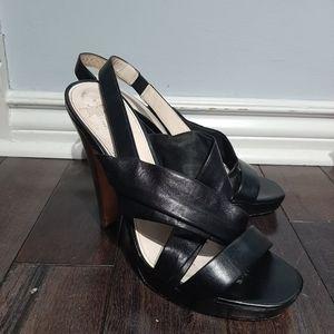 Coach Black Leather Open Toe Slingback Heels